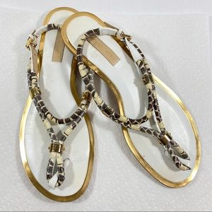 MK Natural Hartley Snakeskin Thong Sandals